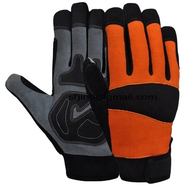 Premium quality of Knuckle Protection Waterproof Lining Goatskin Leather Safety Mechanic Gloves