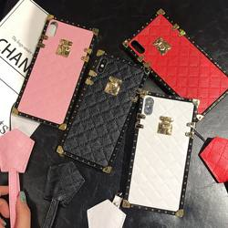 leather square phone case for samng A10 A30 A50 A70 j6 PLUS fashion luxury phone case with strap for phone 11 pro xr xs max