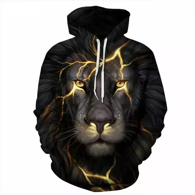 Lion Cotton fleece 3D /sublimation hoodies pull over High Quality custom hoodie for men