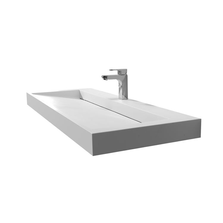 Shopping Mall Long Wall Mount Basin Sink White Scratch And Stain Resistant
