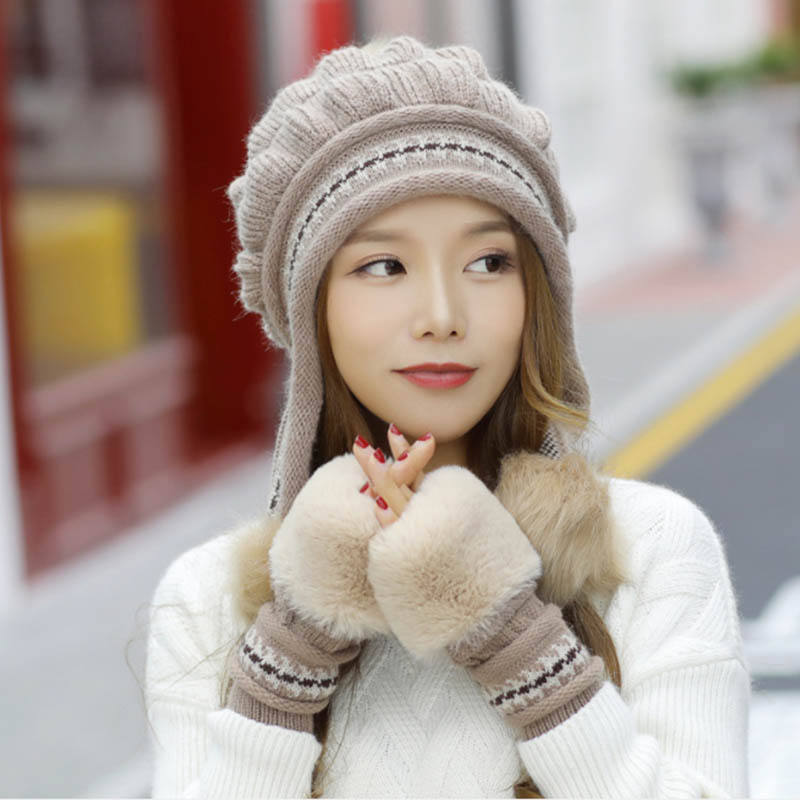 Woman Cute Style Winter Hats Cover Ear Ladies Knitted Hat with Fur Ball Decoration with Gloving Set