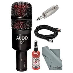 Audix D4 Hypercardioid Dynamic Drum & Instrument Microphone Bundle with Adapter + XLR Cable + Mic Sanitizer + FiberTique Cleaner