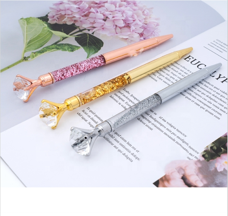 Latest Products 2021 Promotion Big Top Diamond Pen Multi Color Diamond Crystal Ball Point Pen Metal Pen For Wedding Gift