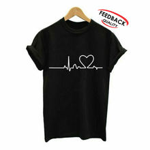 Heart Beat Sublimation Printing Women Shirt 100%COTTON O-Neck Short sleeve T shirts