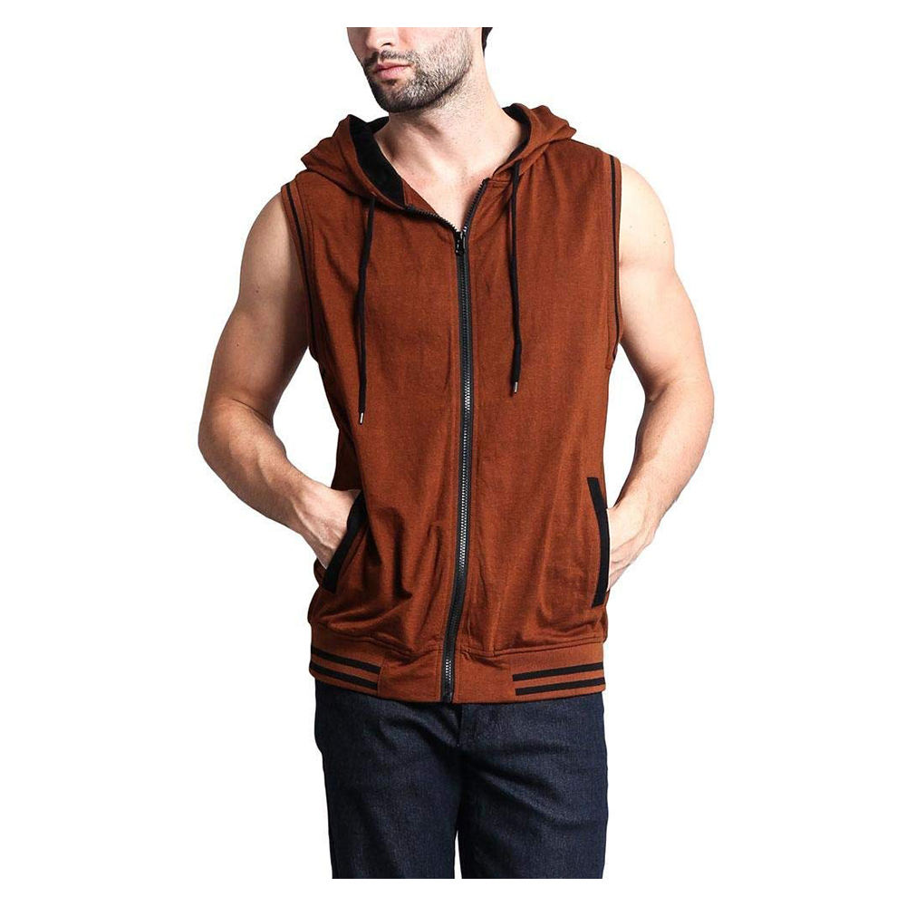 SFI High Quality Custom Logo Mens Slim Fit Lightweight Active Sleeveless Zip-up Hooded Vest Gym Tank Top Coat SFI-HOD-160