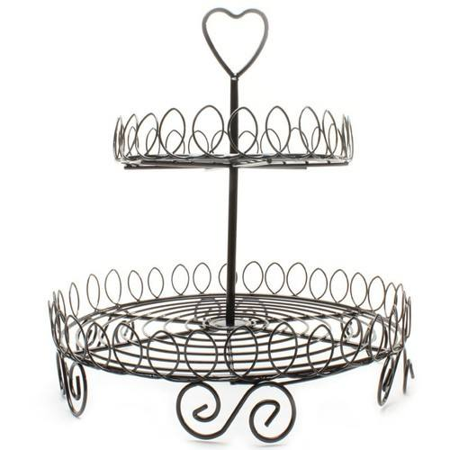 2 Tier Dessert Cupcake Stand, Large Pastry Candy Cookie Tower Holder for Wedding Event Birthday Party, Round Metal Pedestal tray