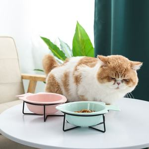 Wholesale Adjustable Cat Dog Bowl Fish Shape Pet Feeder Dispenser Ceramic Pet Bowl With Stainless Steel Stand