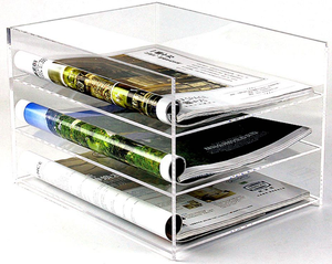 Clear Acryl vier lagen Bestand Houder voor Office Factory wholesale clear acryl file organizer plexiglas document houder