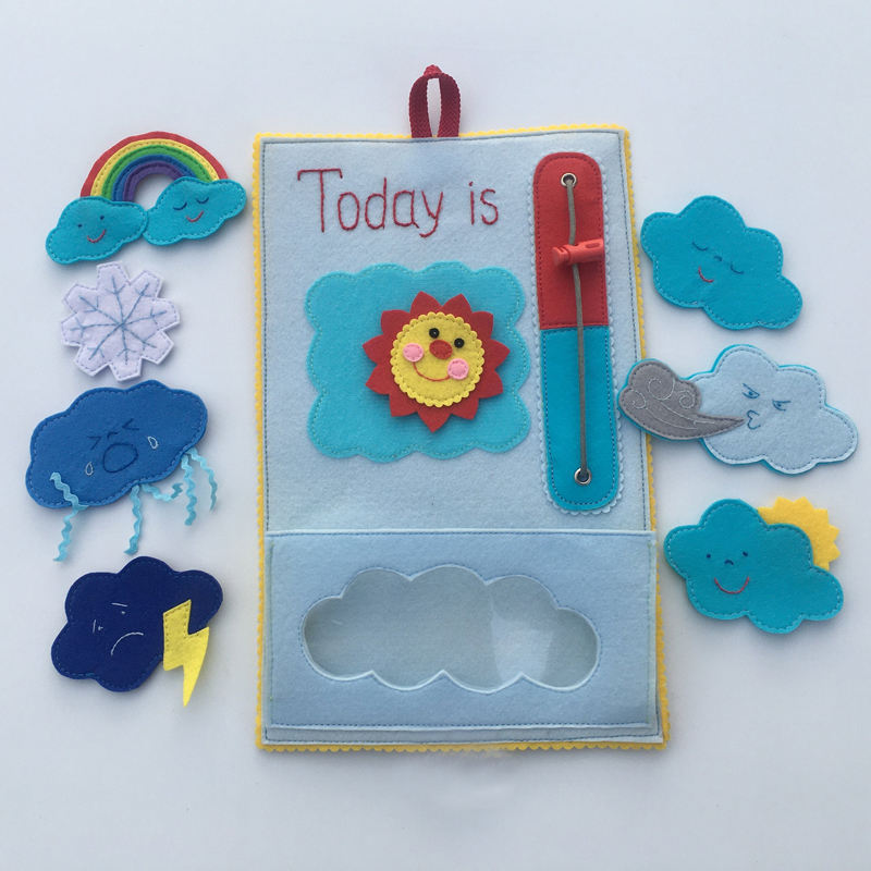 Felt Weather Chart Baby Sensory Board for Toddlers Quiet Toy Montessori Learning Toy