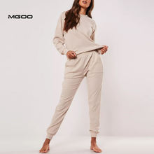 MGOO Soft Touch Rib Cotton Loungewear Tracksuit Customized Blank Women Pajama Set Winter Sleepwear