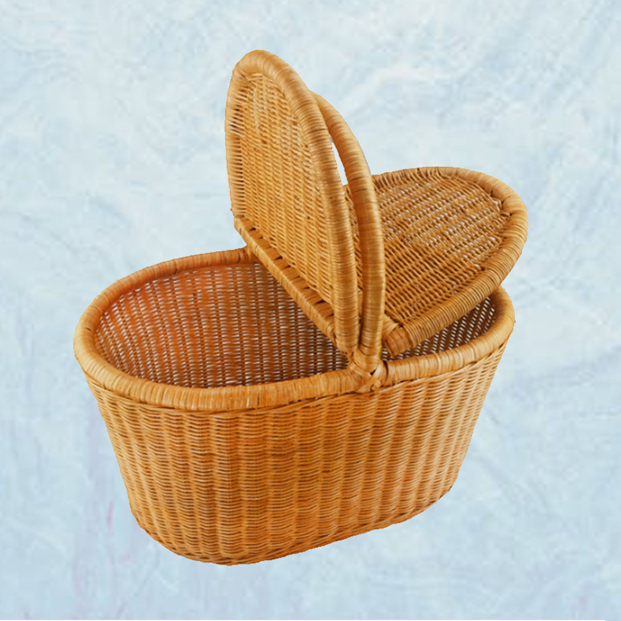 Best Product to Dropship Rattan Wicker Tote Bag Basket with lid Travel Accessory Basket Bag