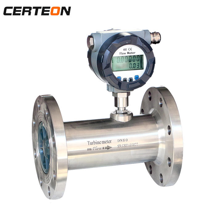 low price DC 24V 2 inch High Accuracy Battery Power totalizer natural gas turbine flow meter for Co2 air Argon lpg Nitrasonic