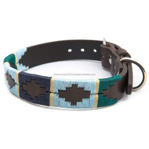 Leather Argentinian Polo Dog Collar With Matching Leather polo Lead