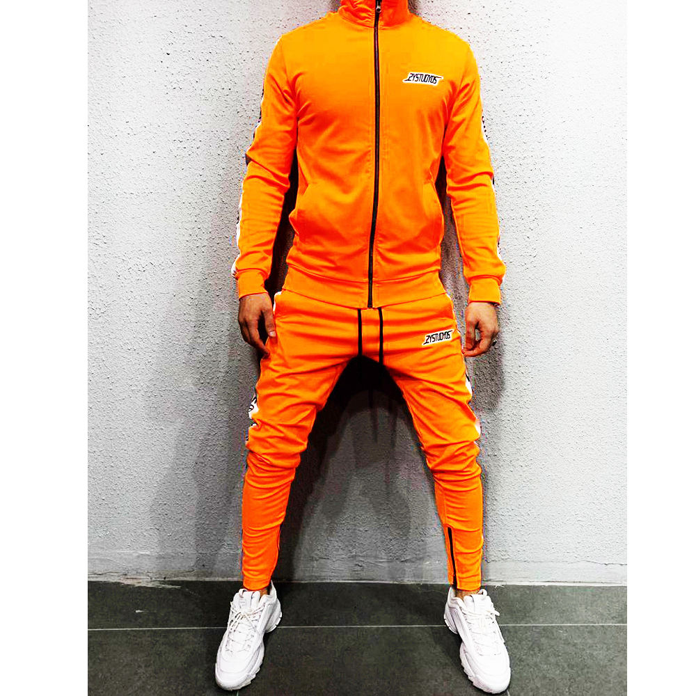 Orange Button Up Gymwear Set Streetwear Jogger Set Tracksuit