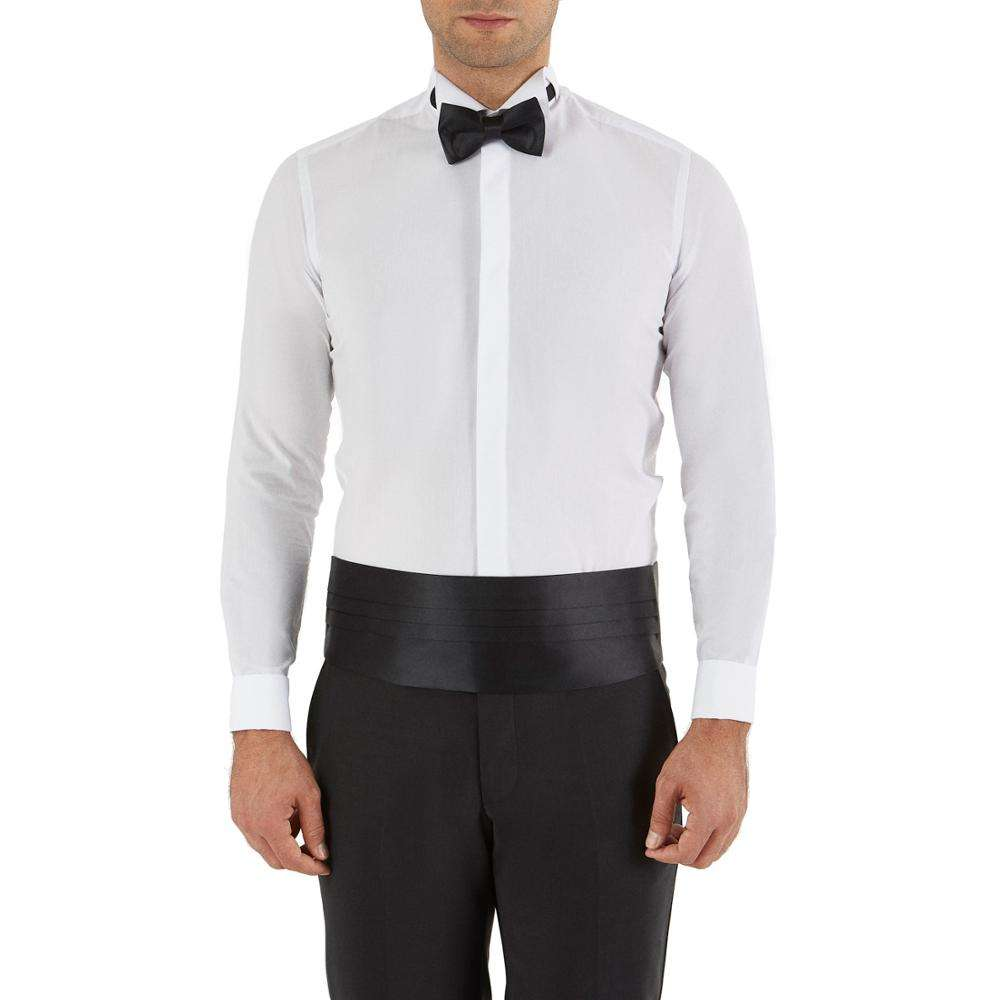 New Season 70 Cotton 30 Polyester Suitable For Smoking Tuxedo White Men's Slim Fit Shirts