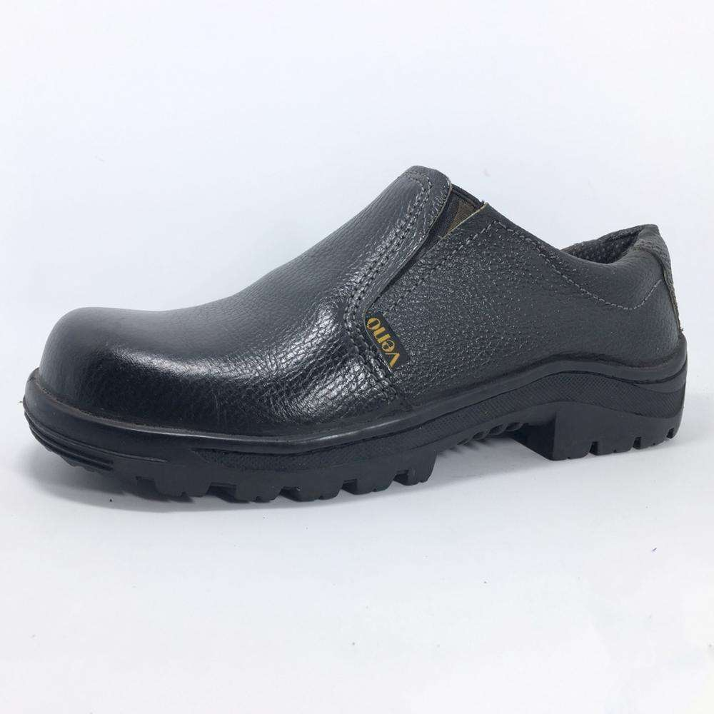 Men Wear-Resistant Breathable Rubber Safety Boots Shoes Black Leather Slip-On Shoe With Steel Toe CP220