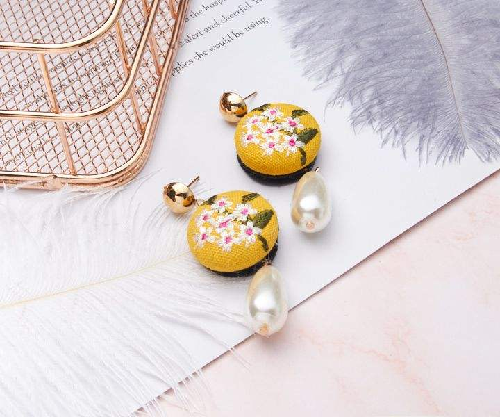 Handmade Elegan Bordir Bunga Mutiara Drop Anting-Anting