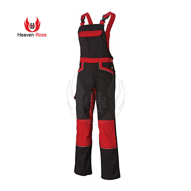 Cotton Twill Dark Gray Dungarees Uniform With Fashion Piping Bib Overall For Men Industrial Bib Overalls
