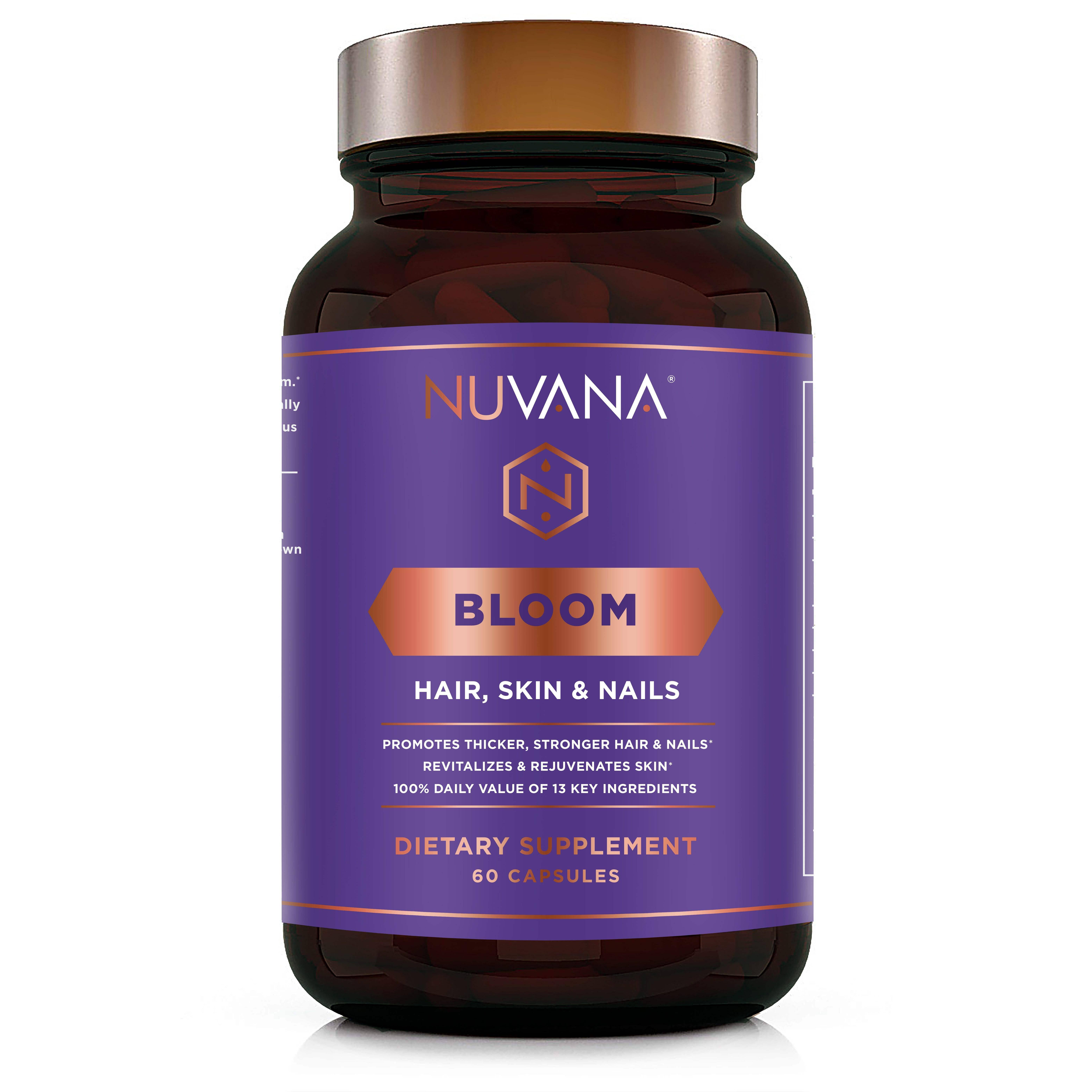 Bloom For Healthy Hair Skin & Nails W 5000mcg Biotin MSM Hyaluronic Acid B Complex Vitamins For Growth & Strength 60 Count