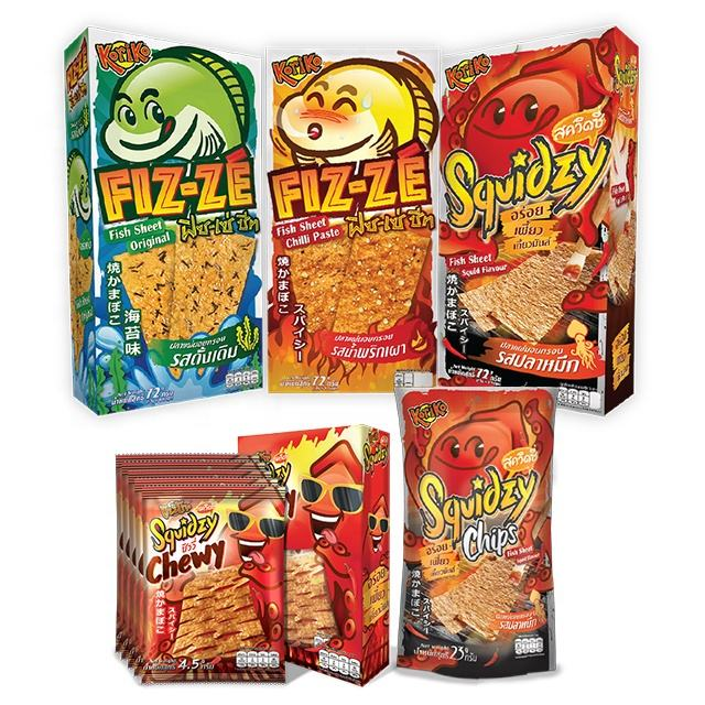 Hot selling Koriko fish sheet chewy snack original, squid, chilli paste flavour