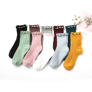 2020 Wholesale Creative crew cotton soft womens solid color pearl beading girls ruffled socks
