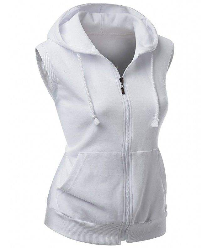 Women's Basic Solid cotton Based Zipper vest Hoodie