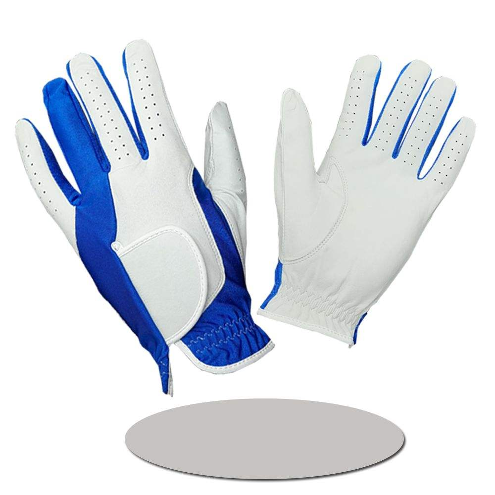 White Cabretta Leather Combination Blue Lycra Golf Glove Soft and Smooth Hands Feel
