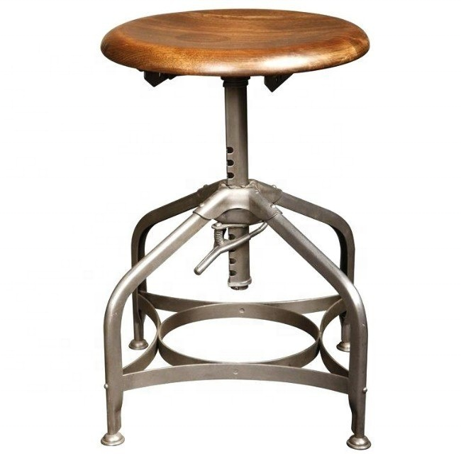 Vintage industrial swivel adjustable bar stool iron spring stool with wooden top