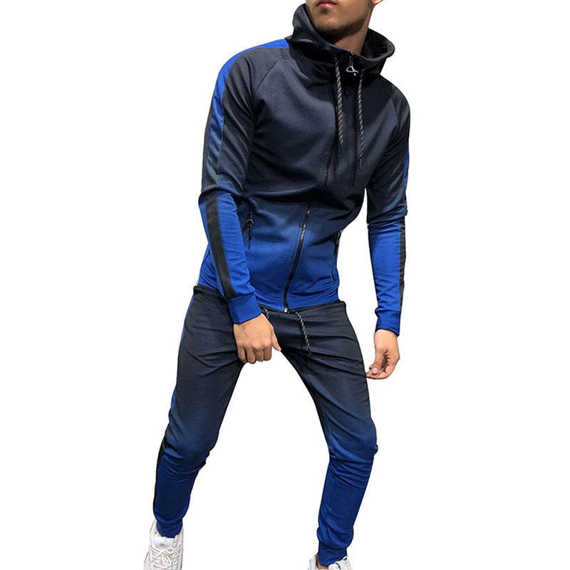 Zipper Tracksuit Men Set Sporting 2 Pieces Sweatsuit Men Clothes Printed Hooded Hoodies Jacket Pants
