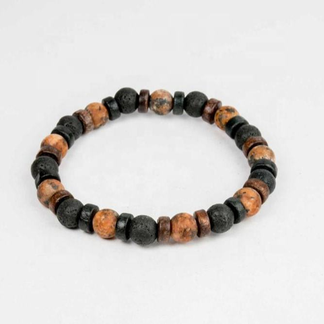 High Quality Best Price Stylish Black Volcanic Lava and Orange Brown Jasper Surfer Bracelet with Bamboo Wood Beads