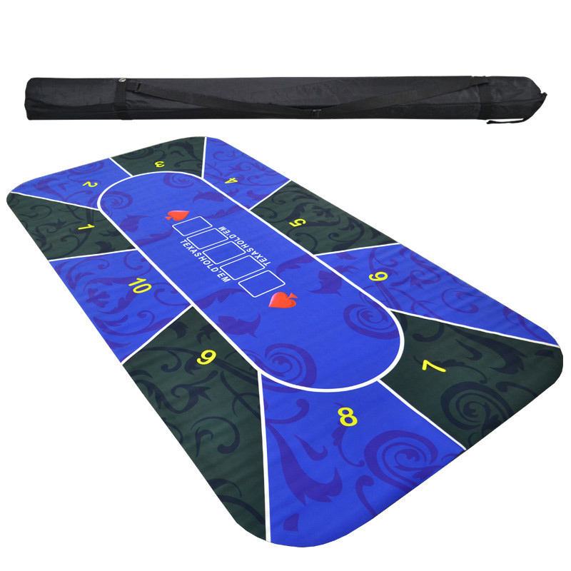 2.4m Texas Hold'em Rubber Mat Tablecloth Poker Board Game Chips Table Top Digital Printing Suede Layout Poker Accessories