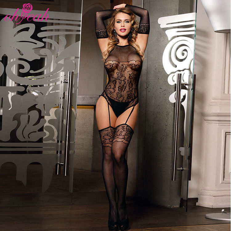 Wholesale Solid Fishnet Sexy Lingerie Adult Tight Nylon Sexy Bodystocking