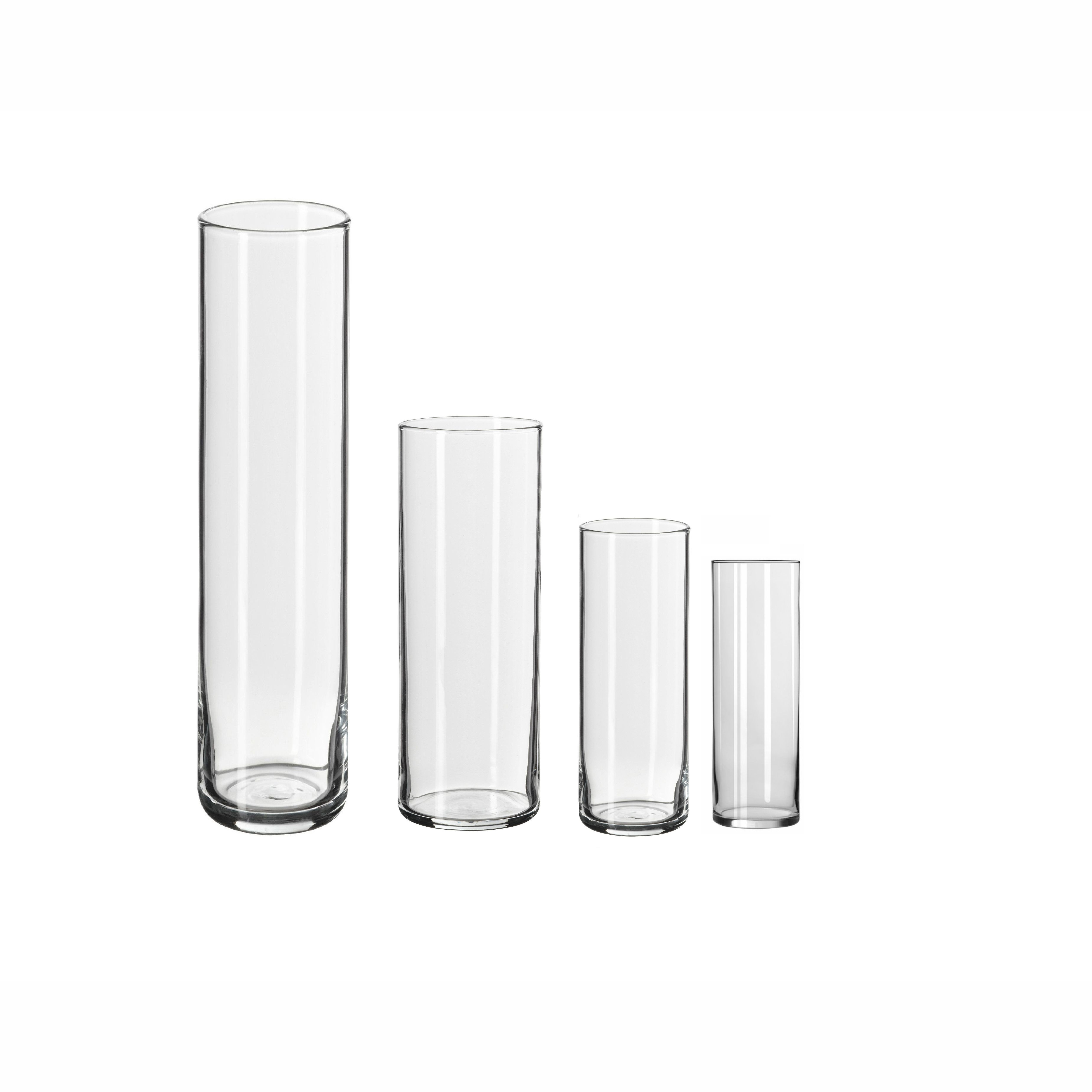Different Size Support Custom Wholesale 25cm 30cm 35cm Glass Tall Clear Cylinder Vase