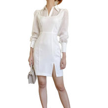 New Arrivals 2020 Elegant White Official Dress Summer Long Sleeve Open End Casual Dress