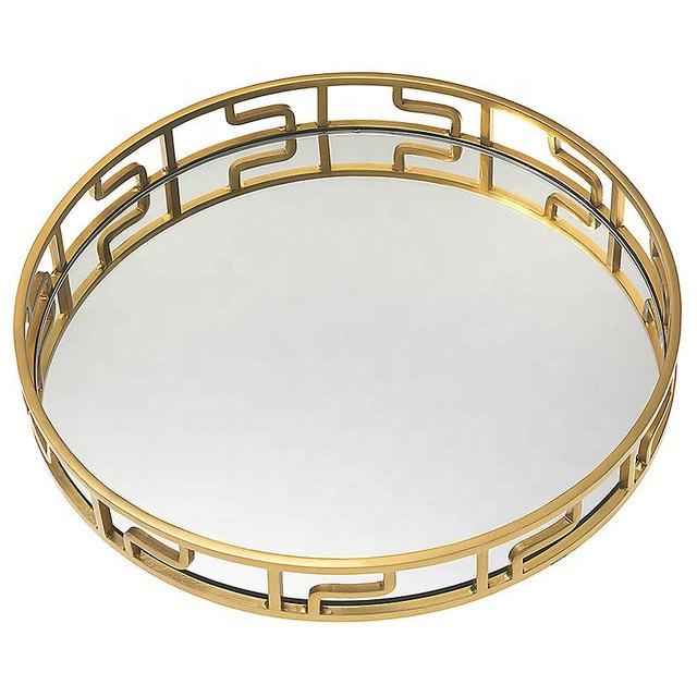 Large Gold Round Mirrored Serving Tray in Metal Decorative Kitchen Storage