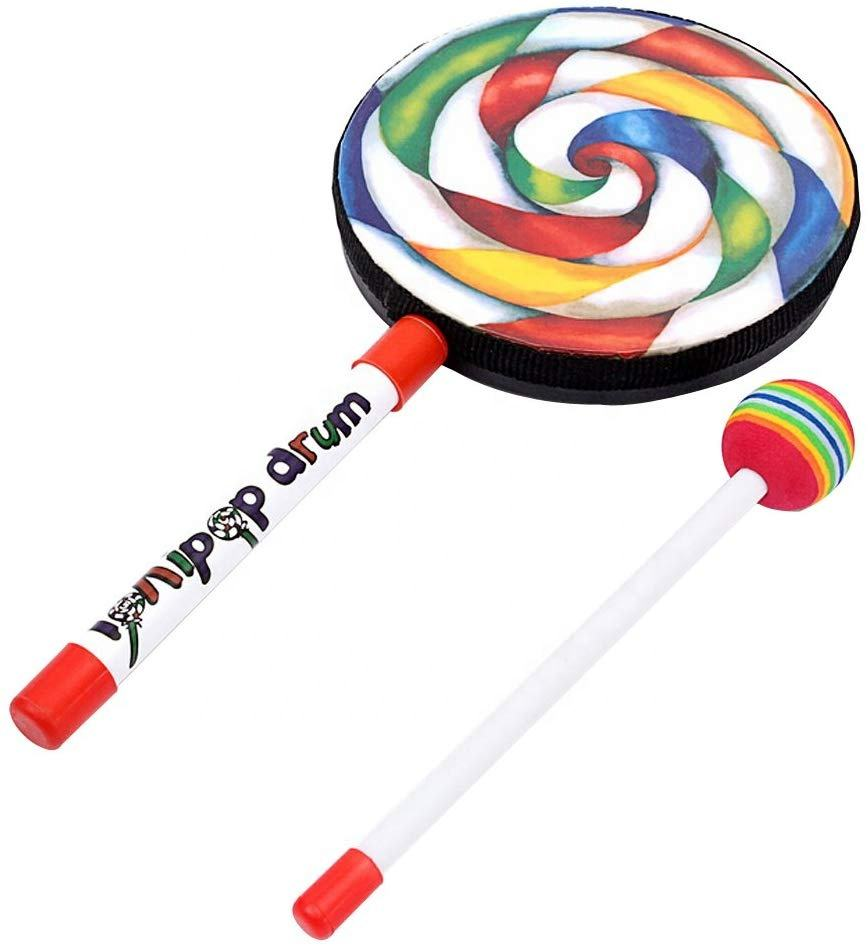 Lollipop Shape Music Drum with Mallet Kids Percussion Instruments Musical Toy Dia 6 inch