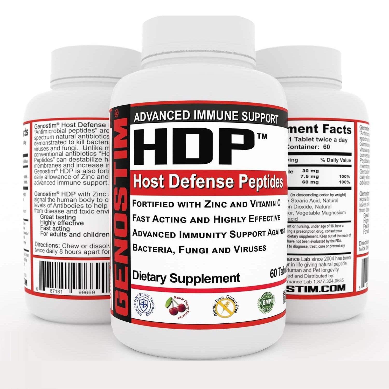 Genostim Host Defense Peptides (HDP) Immune Support Anti-Viral Dietary Supplement with Zinc and Vitamin C