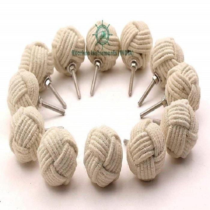 Nautical Jute Rope Door Knobs/Rope Knot Drawer Pulls and Knobs/Pull and Push Handle Knobs Set of 12
