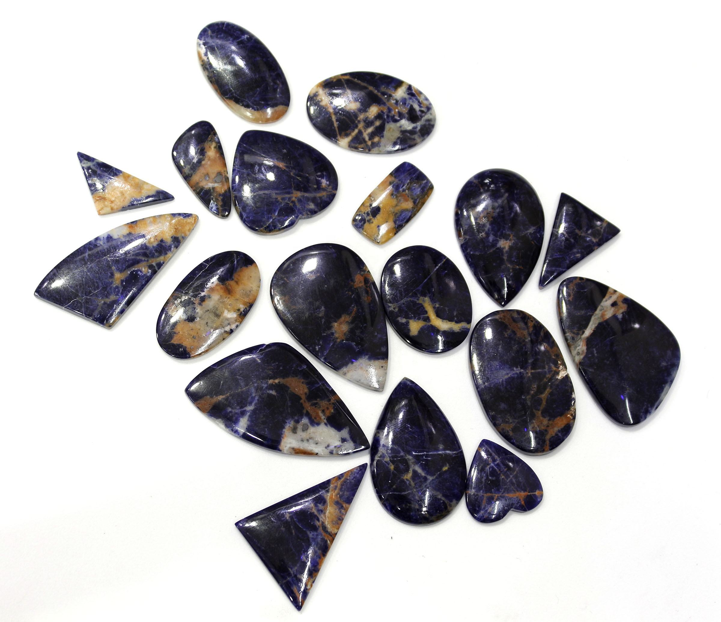 Mix Shape Free Size Sodalite Loose Gemstone Flat back Cabochon Blue Color Sodalite Wholesale Product Use For Making Jewelry