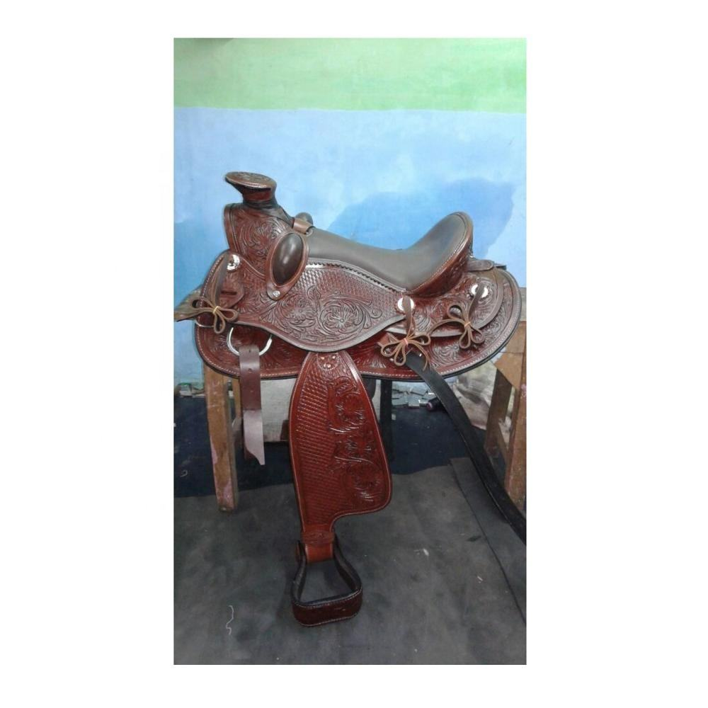 Western Saddle Leather With Silver Fittings