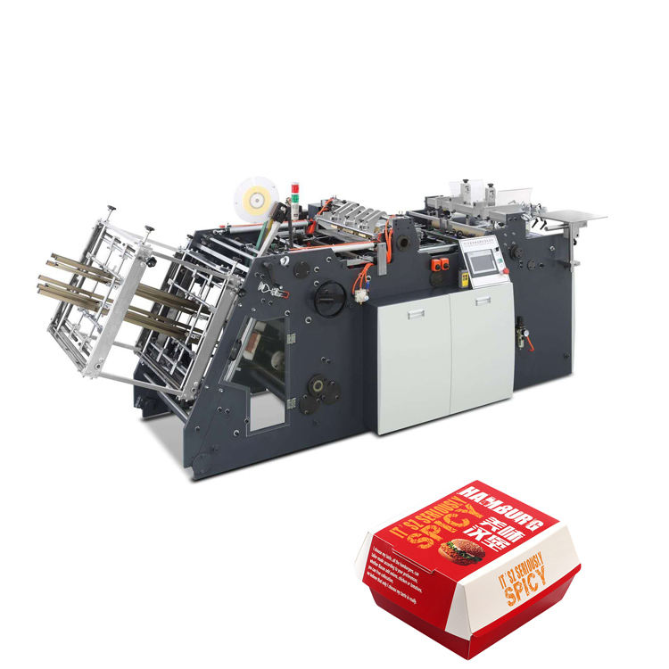 High Speed paper fast food lunch cake cardboard packing carton box making machine for chips box