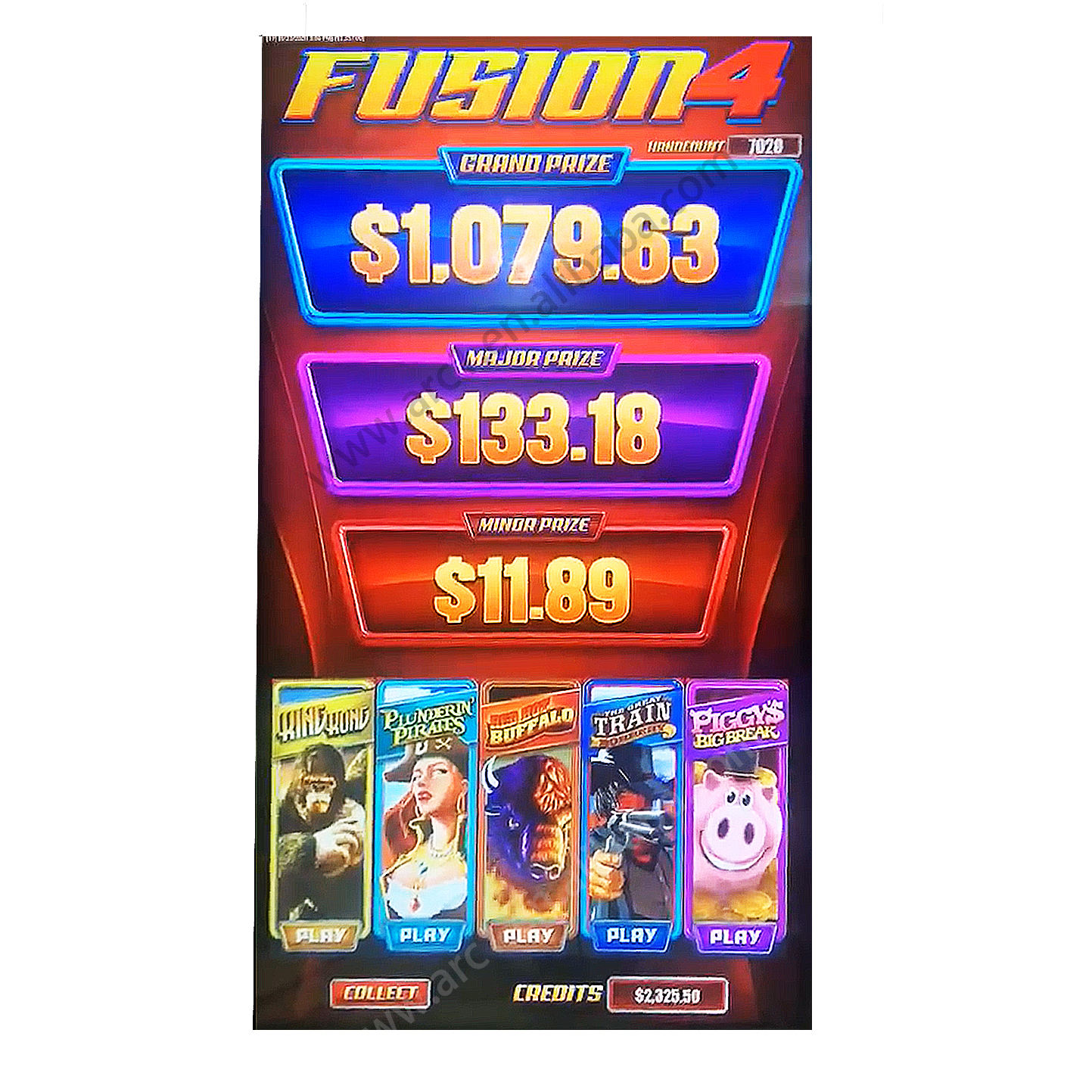 Fusion 4 five in one multi game skill game Red hot buffalo slot game casino 3 jackpot Fusion4