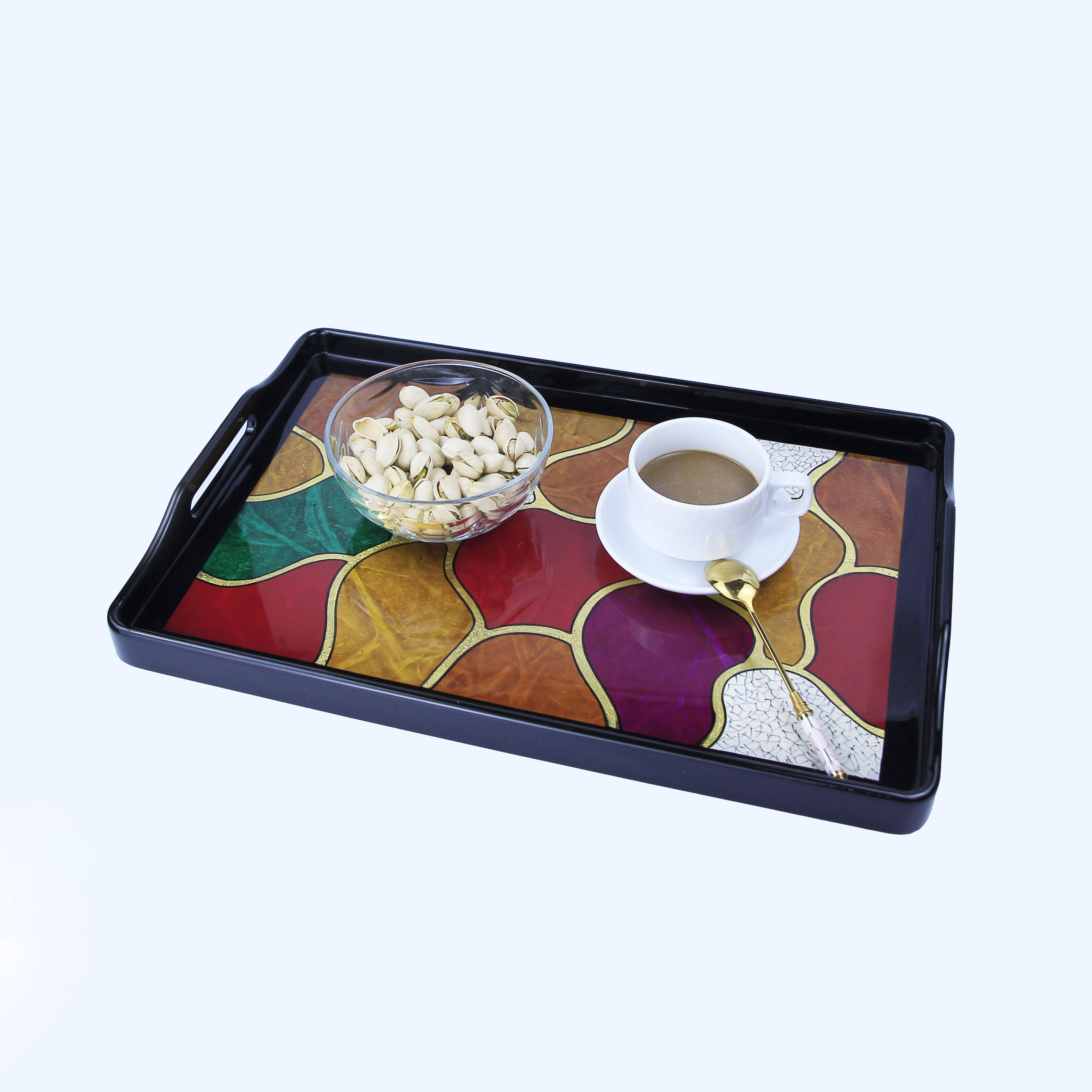Viet Nam Hot Sale In Bulk Handmade Premium Quality Rock Design Painted Gold Leaf Home Decoration Wooden Lacquer Serving Tray