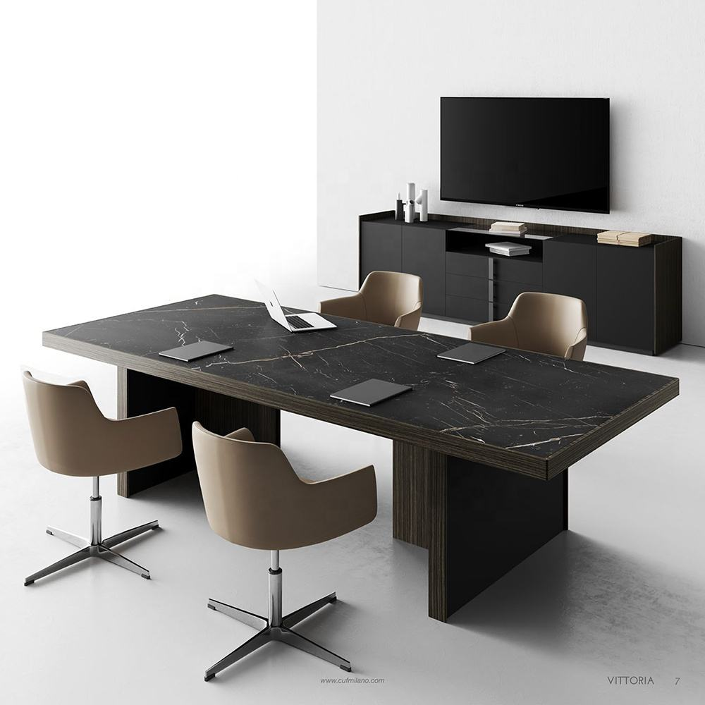 VITTORIA italian design meeting conference interview table for executive areas in solid wood luxury Italy big large desk
