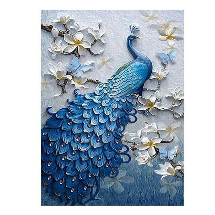 Home wall decoration round diamond painting blue peacock butterfly diamond embroidery art DIY 5D diamond painting kit