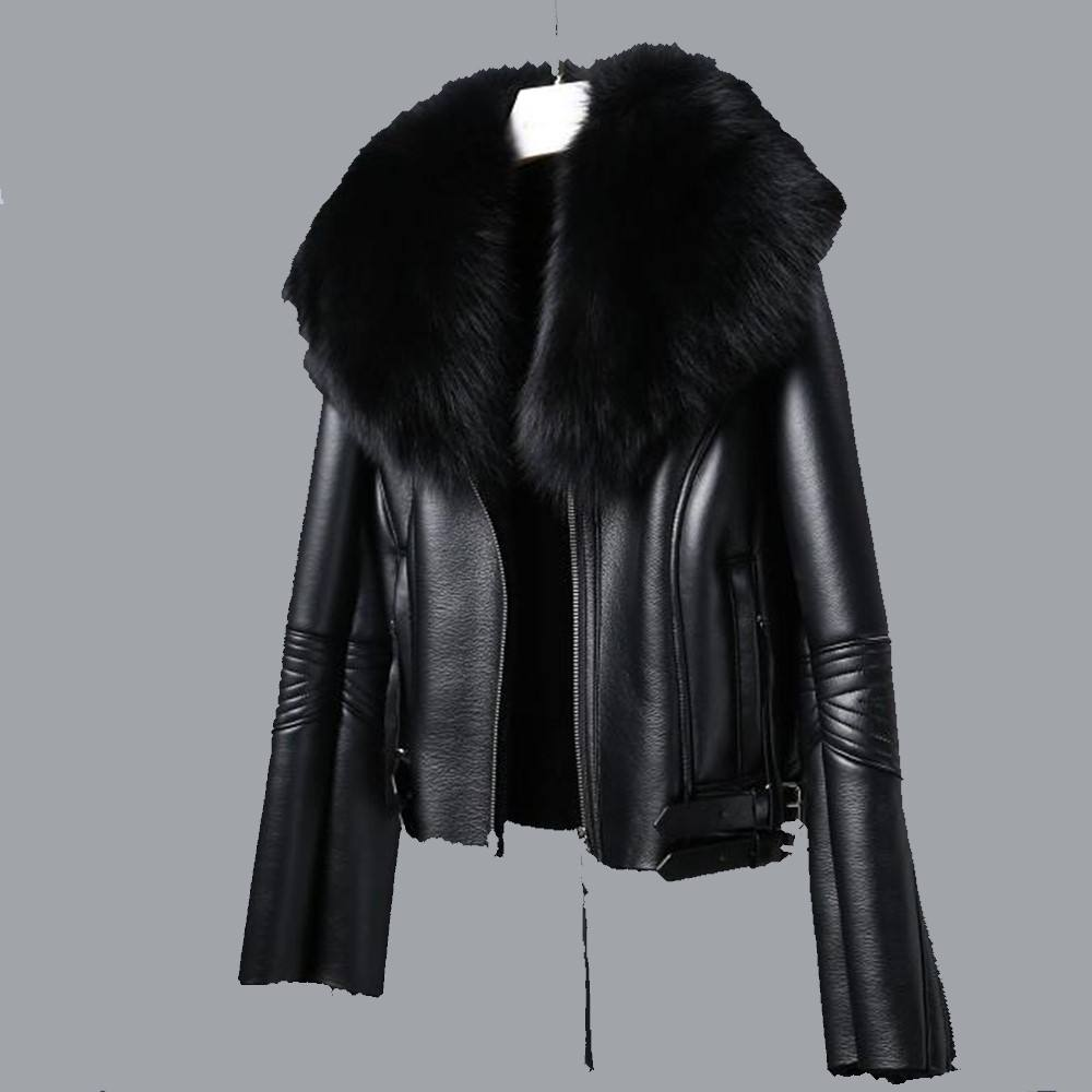 Lady Black Faux PU Leather Jacket Clothing Manufacturer Wholesale Winter Fashion Women biker Leather Jacket with black Fur