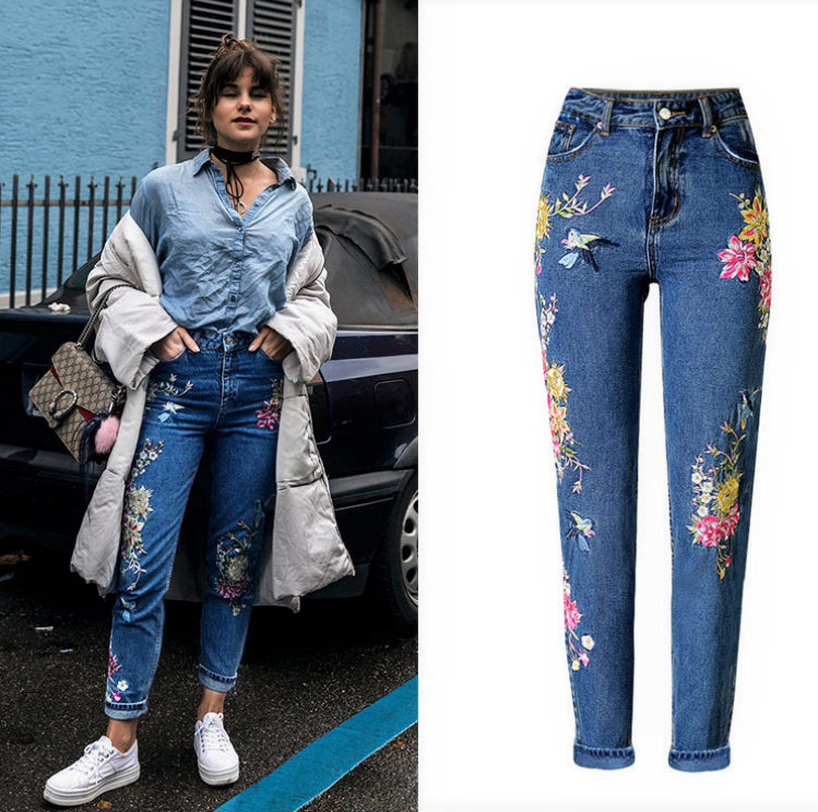 Flower embroidery jeans pent women buy jeans in bulk wholesale china