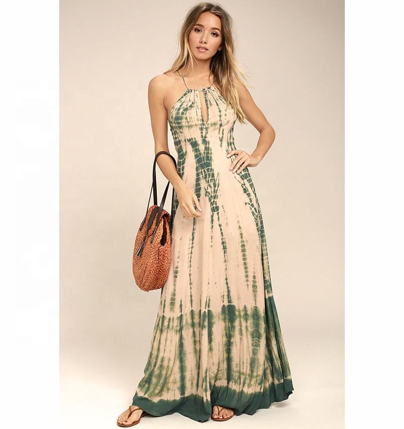 European Fashion 2018 Women's Party Maxi Dress Tie Dye Rayon Casual Maxi Dress