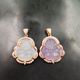 Jialin jewelry ins Factory wholesale natural S925 silver Maitreya agate ladies cz pink jade buddha pendant necklace