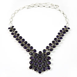 Purple amethyst necklace women fashion jewellery solid 925 silver necklaces sterling silver jewelry manufacturer